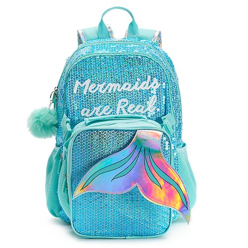 Kids Mermaids Are Real Sequin Backpack Lunch Bag Set