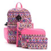 Kids Tribal Print Backpack, Lunch Bag, Tablet Case, Pencil Case, Water Bottle & Carabiner Set