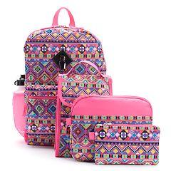 Kids Tribal Print Backpack, Lunch Bag, Tablet Case, Pencil Case, Water Bottle & Carabiner Set