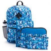 Kids Dinosaur Camo Print Backpack, Lunch Bag, Tablet Case, Pencil Case, Water Bottle & Carabiner Set