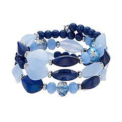 Blue Beaded Coil Bracelet