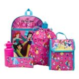 Disney Princess Ariel, Mulan, Snow White, Jasmine & Belle Backpack, Cinch Sack, Lunch Bag, Zip Pouch & Water Bottle Set