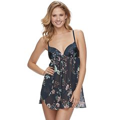 Women's Apt. 9® Chiffon Floral Babydoll & Thong Lingerie Set