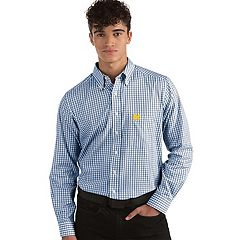 Men's Antigua Michigan Wolverines Box Plaid Pattern Button-Down Shirt