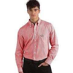 Men's Antigua Arkansas Razorbacks Box Plaid Pattern Button-Down Shirt