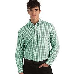 Men's Antigua Michigan State Spartans Box Plaid Pattern Button-Down Shirt