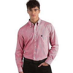 Men's Antigua South Carolina Gamecocks Box Plaid Pattern Button-Down Shirt