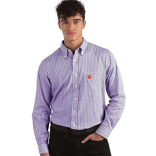 Men's Antigua Clemson Tigers Box Plaid Pattern Button-Down Shirt