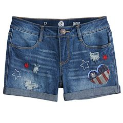 Girls 7-16 SO® Americana Fringe Jean Shorts