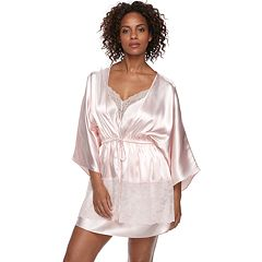 Women's Apt. 9® Satin Lace Trim Wrap Robe