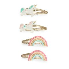 Girls 4-8 Carter's 4-pack Glittery Unicorn & Rainbow Hair Clips