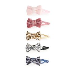 Girls 4-8 Carter's 5-pack Glitter & Velvet Bow Hair Clips