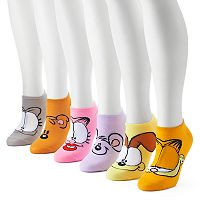 Women's Garfield & Friends 6-Pack No-Show Socks