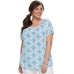 Plus Size Croft & Barrow® Printed Smocked Top