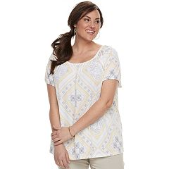 Plus Size Croft & Barrow® Printed Smocked Top