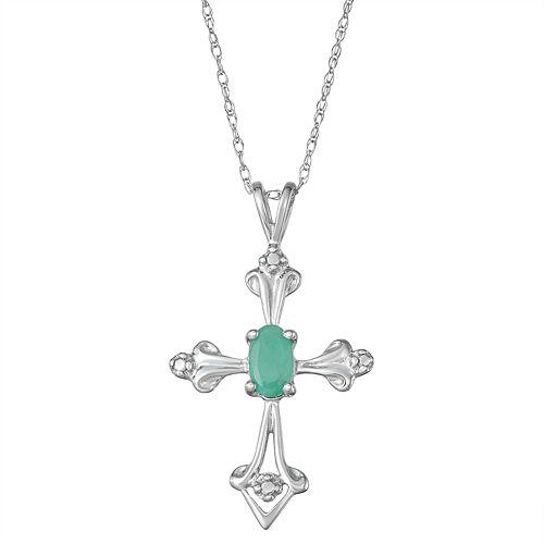 10k White Gold Emerald Cross Pendant