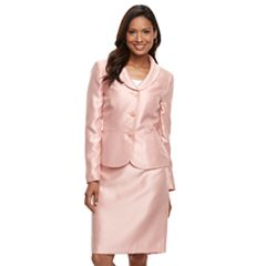 Women's Le Suit Sateen Shawl Collar Jacket & Skirt Suit