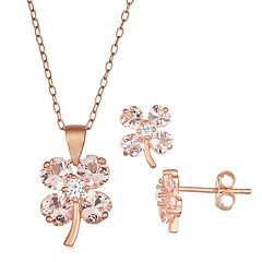 18k Rose Gold Over Silver Pink Crystal & Cubic Zirconia Clover Jewelry Set