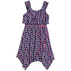 Girls 7-16 Three Pink Hearts Printed Sharkbite Hem Dress