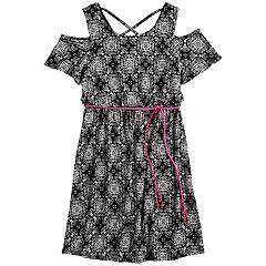 Girls 7-16 Three Pink Hearts Printed Cold-Shoulder Dress