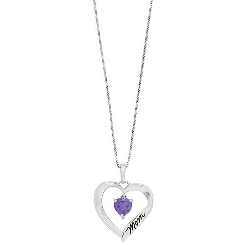 "Timeless Sterling Silver Cubic Zirconia ""Mom I Love You"" Heart Pendant Necklace"