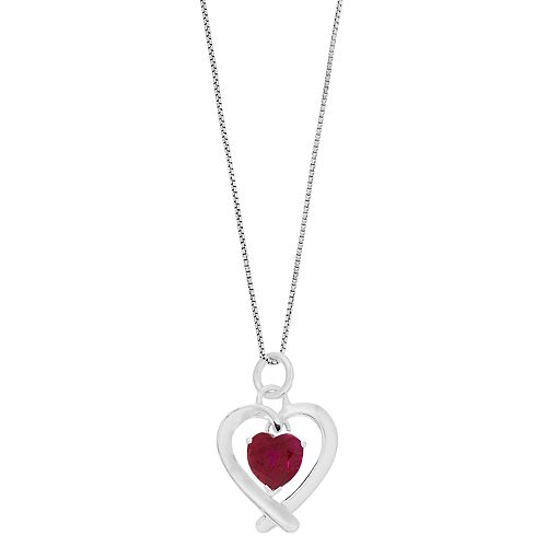 "Timeless Sterling Silver Red Cubic Zirconia ""Mom You Are The Most Beautiful Gift"" Heart Pendant"