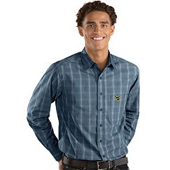 Men's Antigua West Virginia Mountaineers Plaid Pattern Button-Down Shirt