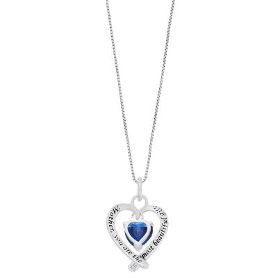 """Timeless Sterling Silver Blue Cubic Zirconia """"Mom You Are The Most Beautiful Gift"""" Heart Pendant"""