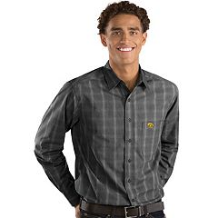 Men's Antigua Iowa Hawkeyes Plaid Pattern Button-Down Shirt