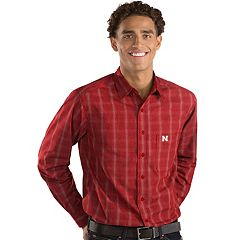 Men's Antigua Nebraska Cornhuskers Plaid Pattern Button-Down Shirt