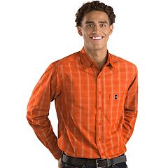 Men's Antigua Illinois Fighting Illini Plaid Pattern Button-Down Shirt