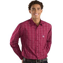 Men's Antigua Oklahoma Sooners Plaid Pattern Button-Down Shirt
