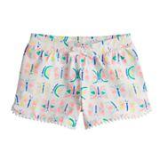 Girls 4-10 Jumping Beans® Printed Pom-Pom Trim Slubbed Shorts