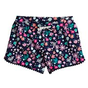 Girls 4-10 Jumping Beans® Printed Pom-Pom Trim Slubbed Shorts