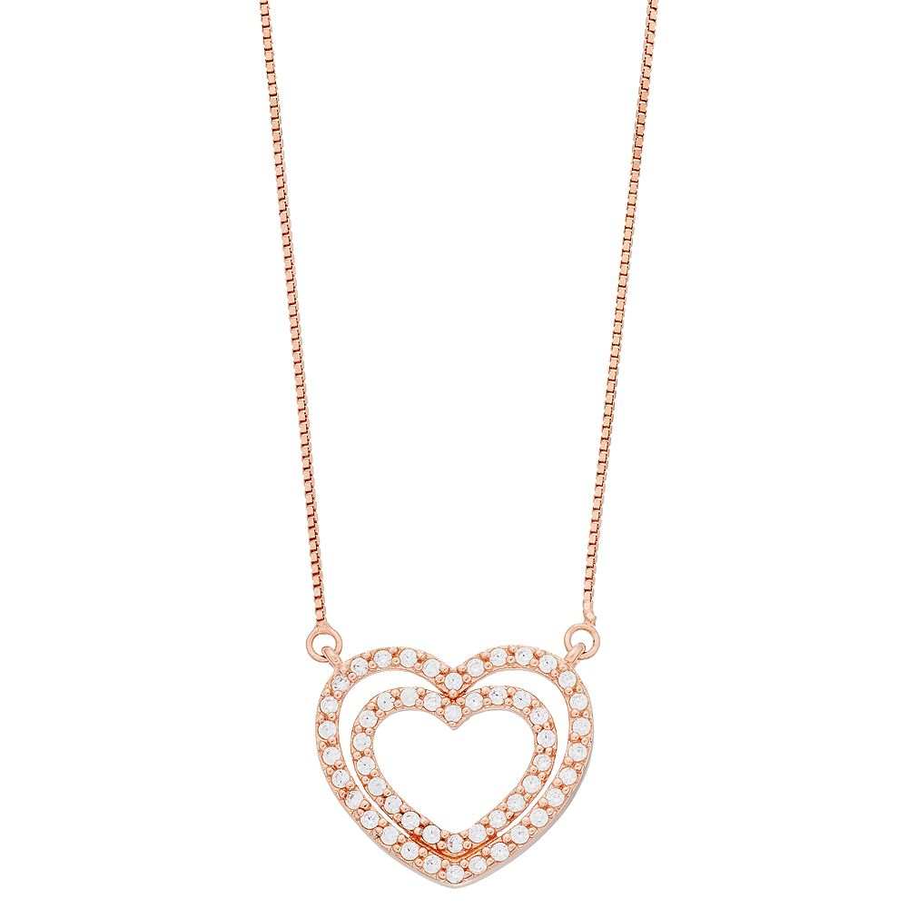 Timeless Sterling Silver Rose Gold Tone Cubic Zirconia Double Heart Pendant Necklace