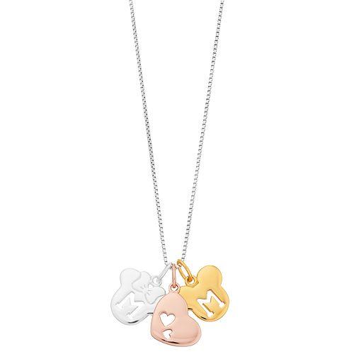 Disney's Mickey & Minnie Mouse Heart Tri-Tone Pendant Necklace