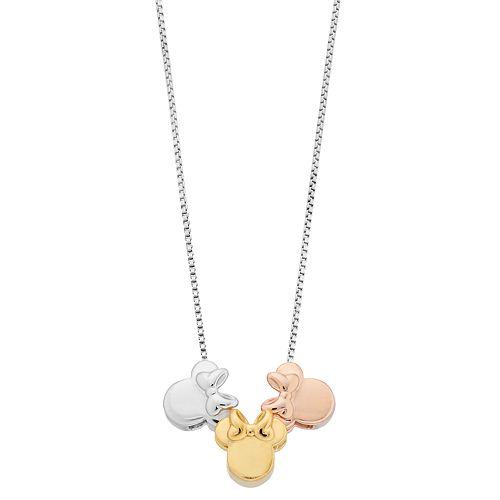 Disney's Minnie Mouse Tri-Tone Sterling Silver Pendant Necklace