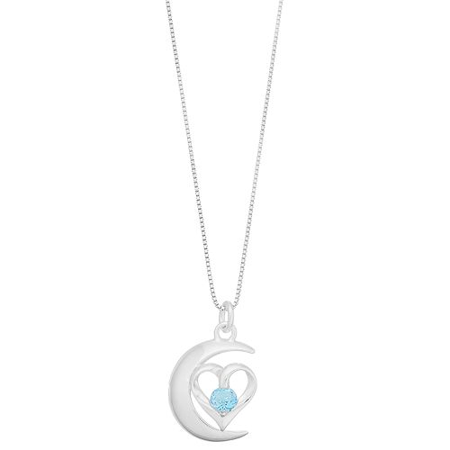 Timeless Sterling Silver Blue Topaz Heart Moon Pendant Necklace