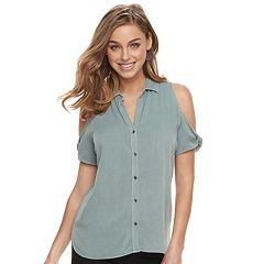 Women's Rock & Republic® Twisted Sleeve Cold-Shoulder Shirt