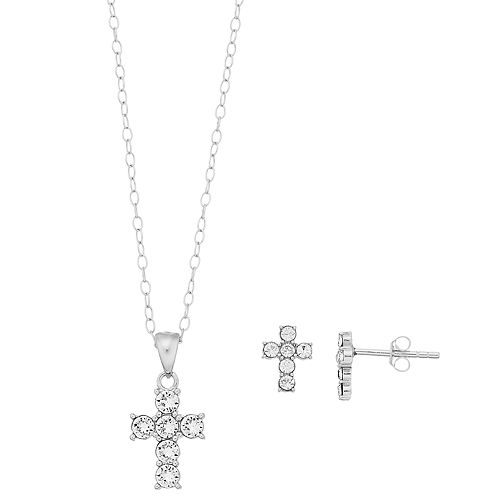 Sterling 'N' Ice Sterling Silver Crystal Cross Pendant & Earring Set