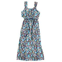 Girls 7-16 Three Pink Hearts Flounce Printed Maxi Dress