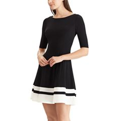 Women's Chaps Striped Hem Fit & Flare Dress