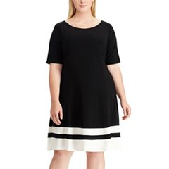 Plus Size Chaps Striped Hem Fit & Flare Dress
