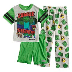 Boys 6-12 Minecraft Zombie 3-Piece Pajama Set