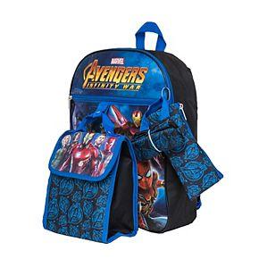 Kids Marvel Avengers: Infinity War Backpack, Cinch Sack, Lunch Bag, Zip Pouch & Water Bottle Set