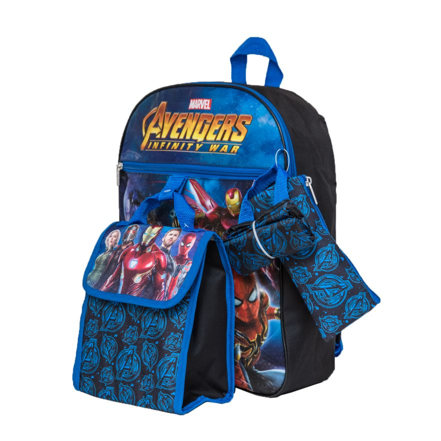 Kids Marvel Avengers: Infinity War Backpack, Cinch Sack, Lunch Bag, Zip Pouch & Water Bottle Set
