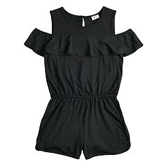 Girls 7-16 Joey B Cold-Shoulder Ruffle Romper