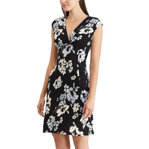 Petite Chaps Floral Surplice Faux-Wrap Dress