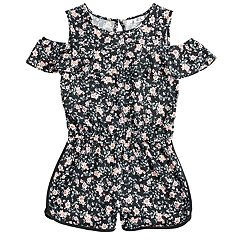 Girls 7-16 Joey B Floral Cold-Shoulder Ruffle Romper