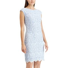 Petite Chaps Floral Lace Sheath Dress
